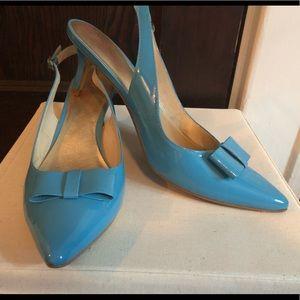 Lilly Pulitzer blue sling back kitten heels